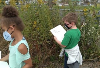 two students completing a bug inventory