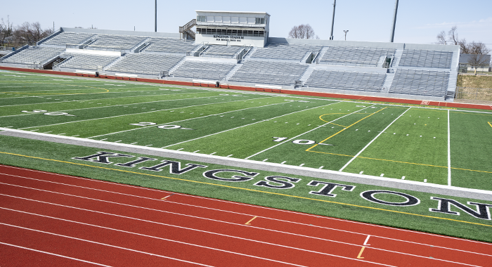 A view of Kingston Stadium track, field and pressbox.
