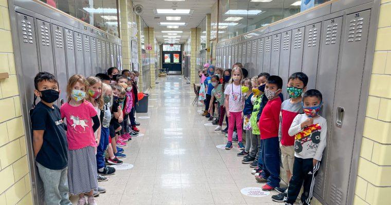 Hiawatha students standing in hallway