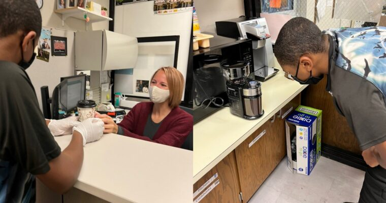 Kennedy Special Education Students make coffee for the Cougar Cafe
