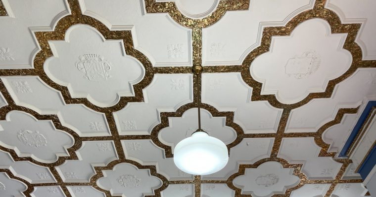 ornate library ceiling