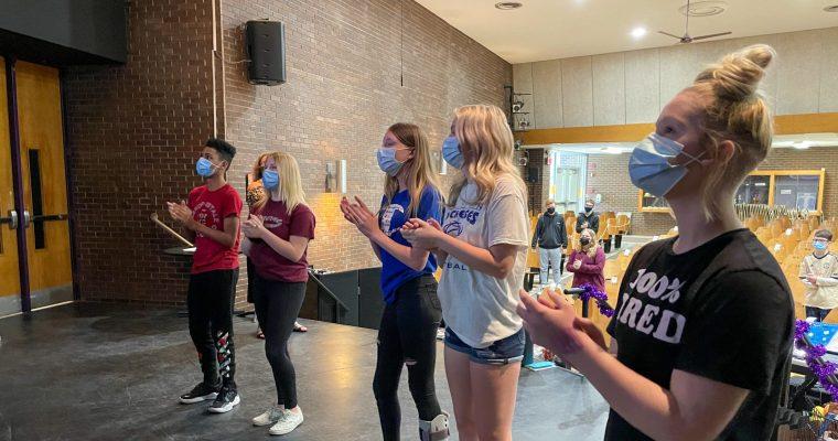 students practice show choir