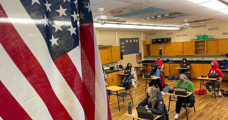 Classroom with American Flag